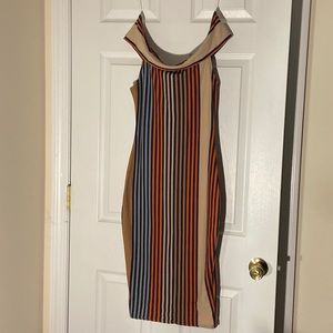 Multicolored off the shoulder fitted dress